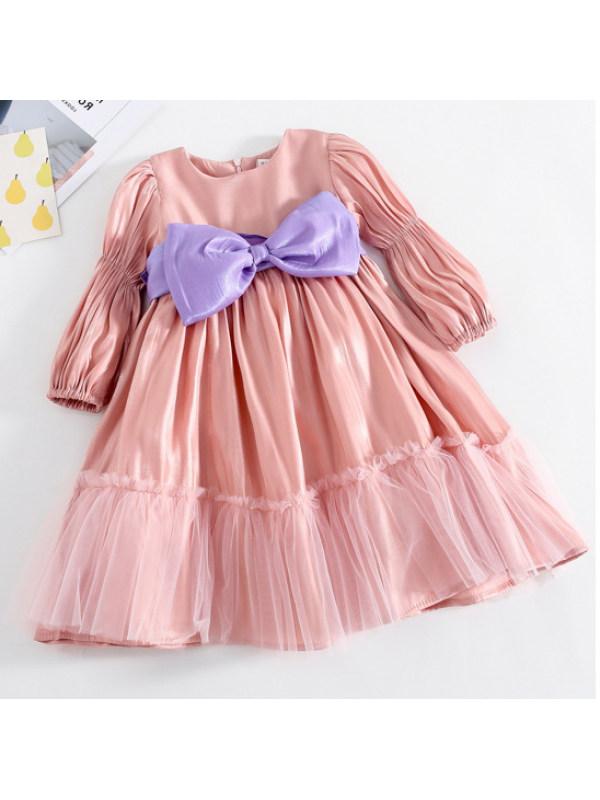 【18M-7Y】Girls Sweet Bow Pink Puff Sleeve Dress