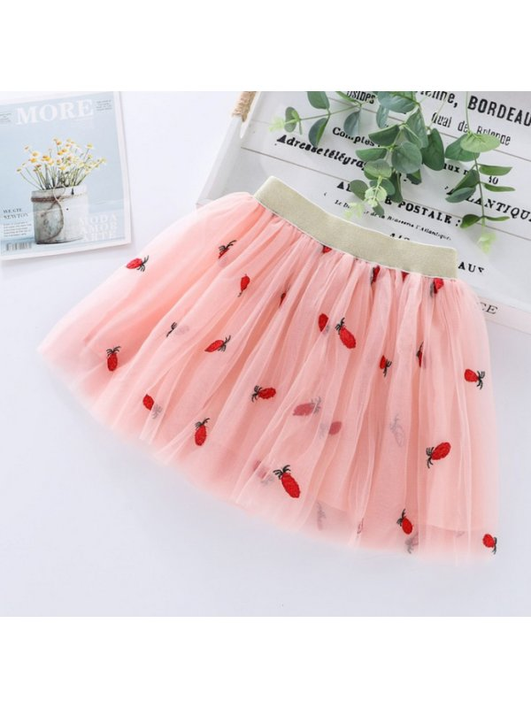 【2Y-13Y】Girls Mesh Fruits Embroidered Tutu Skirt