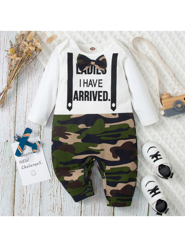 【3M-18M】Boys Casual Letters And Green Camouflage Print Long Sleeve Romper