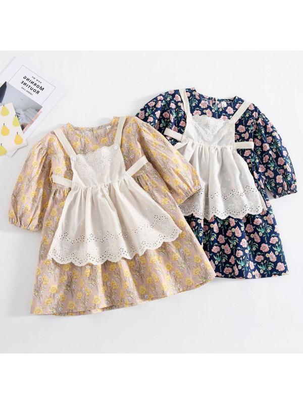 【18M-7Y】Girls Sweet Flower Long Sleeve Dress