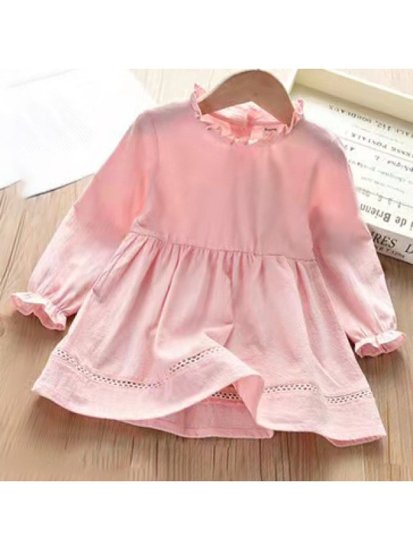 【12M-9Y】Girl Sweet Pure Color Long Sleeve Dress