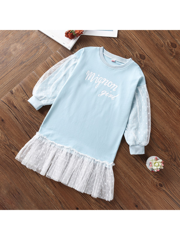 【3Y-13Y】Girls Letter Prints Tulle Dress