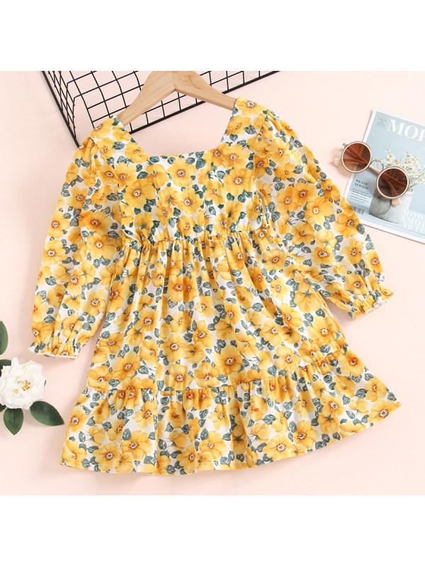 【18M-7Y】 Girl Sweet Flower Print Yellow Long Sleeve Dress
