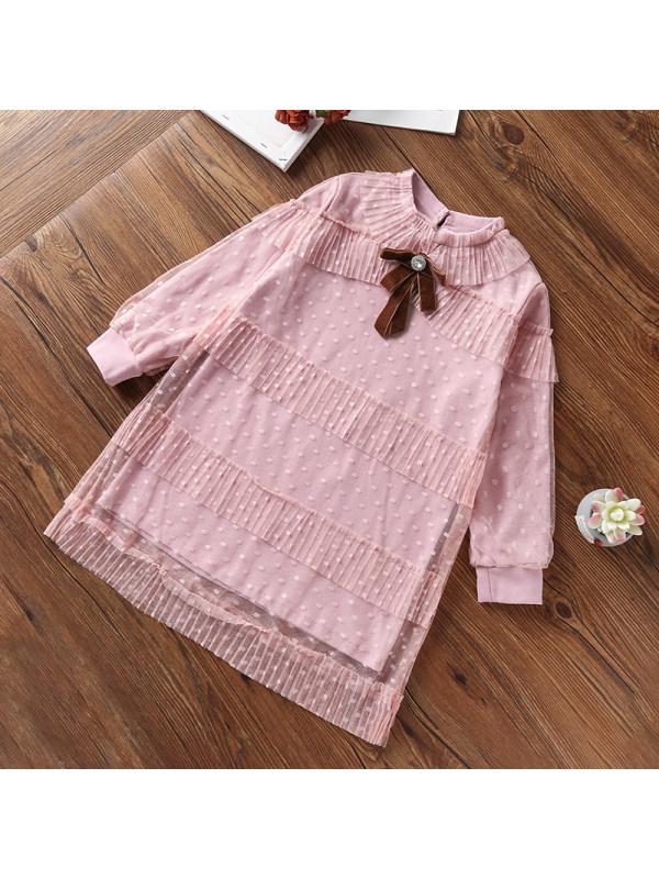 【3Y-13Y】Girls Polka Dot Tulle Long Sleeve Dress