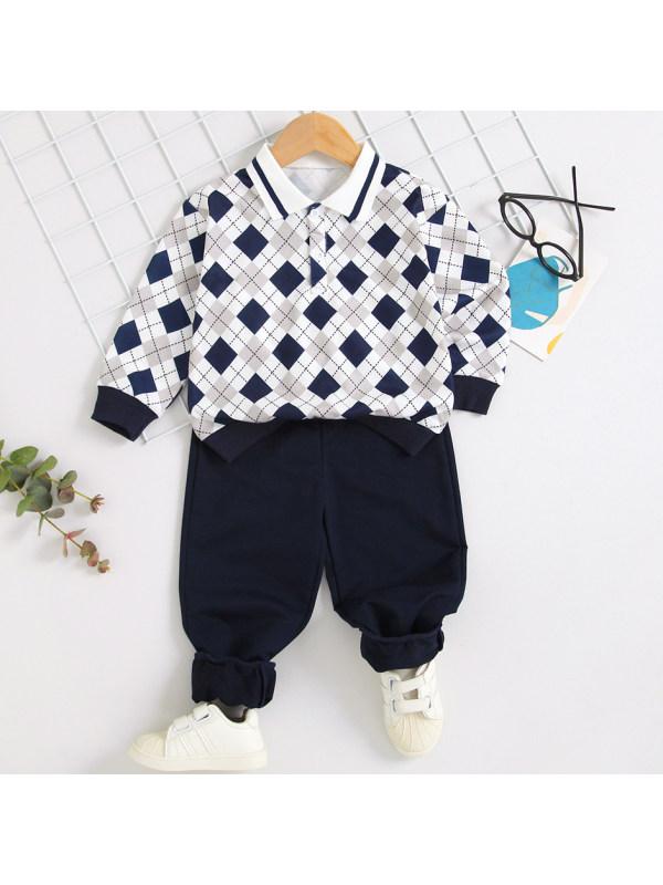 【18M-7Y】 Boys Casual Plaid Polo And Blue Pants Set