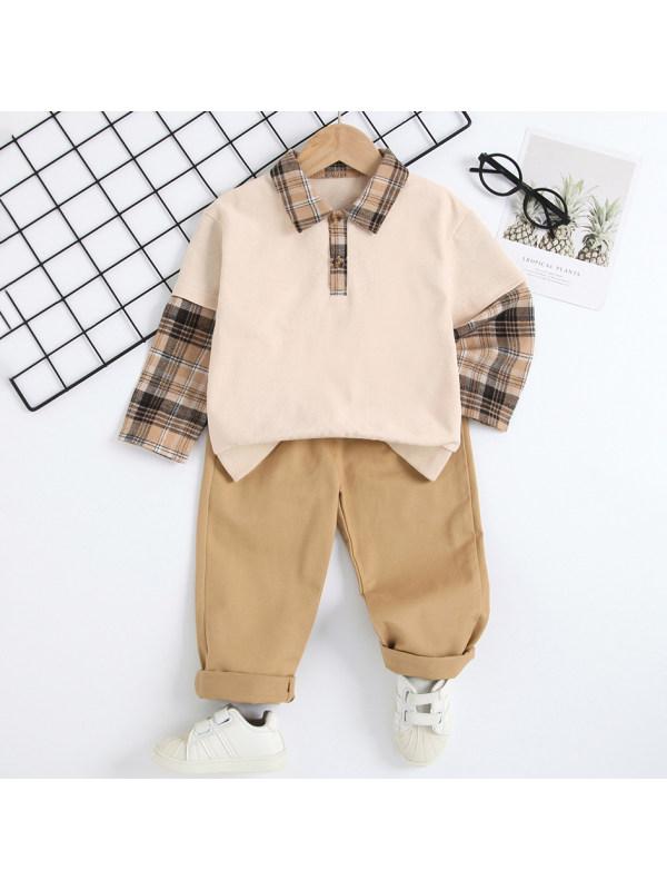 【18M-7Y】Boys Khaki Polo Shirt And Plaid Pants Set