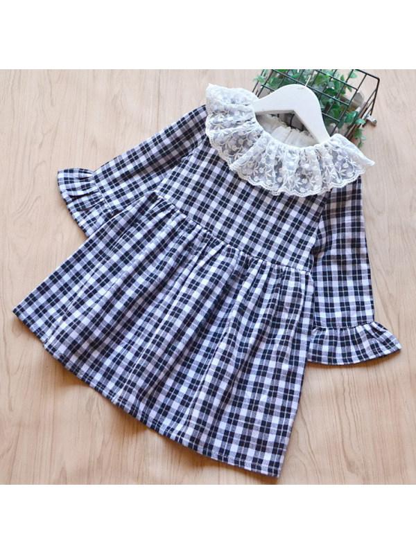 【18M-9Y】Girls Sweet Lace Collar Long Sleeve Plaid Dress