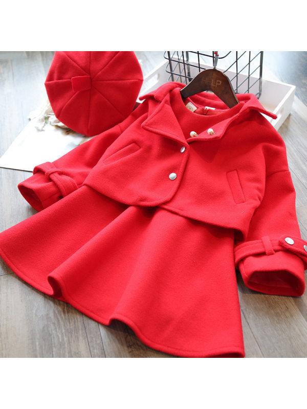 【18M-7Y】Girls Elegant Red Vest Dress And Jacket Suit Hat Free