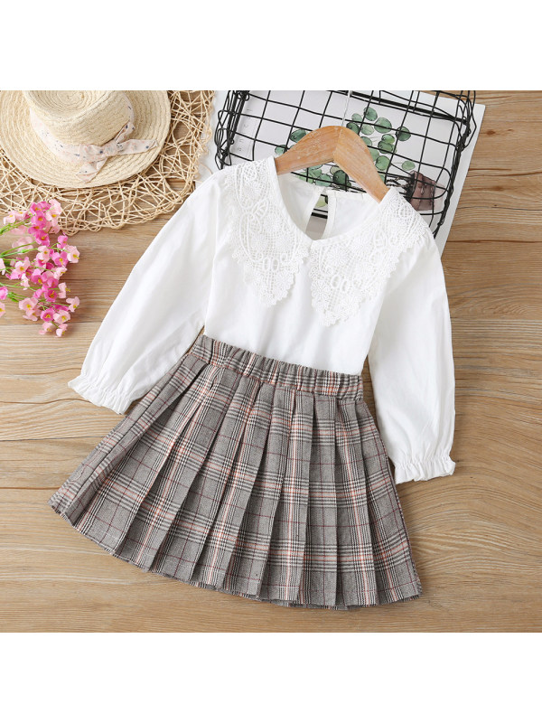 【18M-7Y】 Girls Sweet Lace Collar Shirt And Plaid Skirt Set