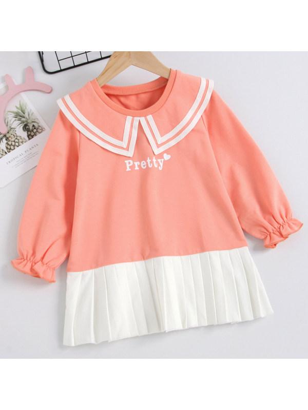 【18M-7Y】 Girl Sweet Letter Print Orange Pink Dress