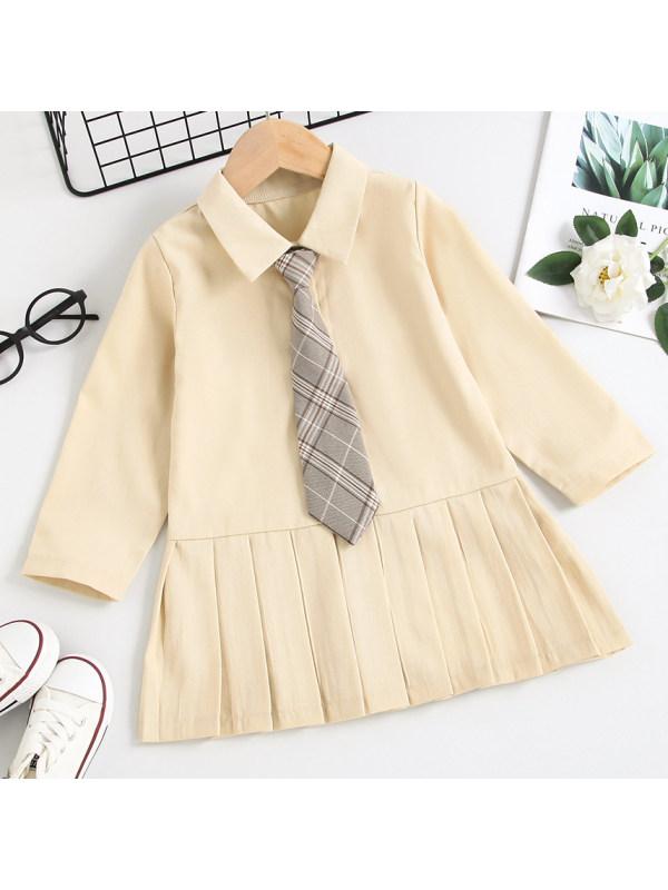 【18M-7Y】Girl Sweet Light Khaki Pleated Dress Tie Free