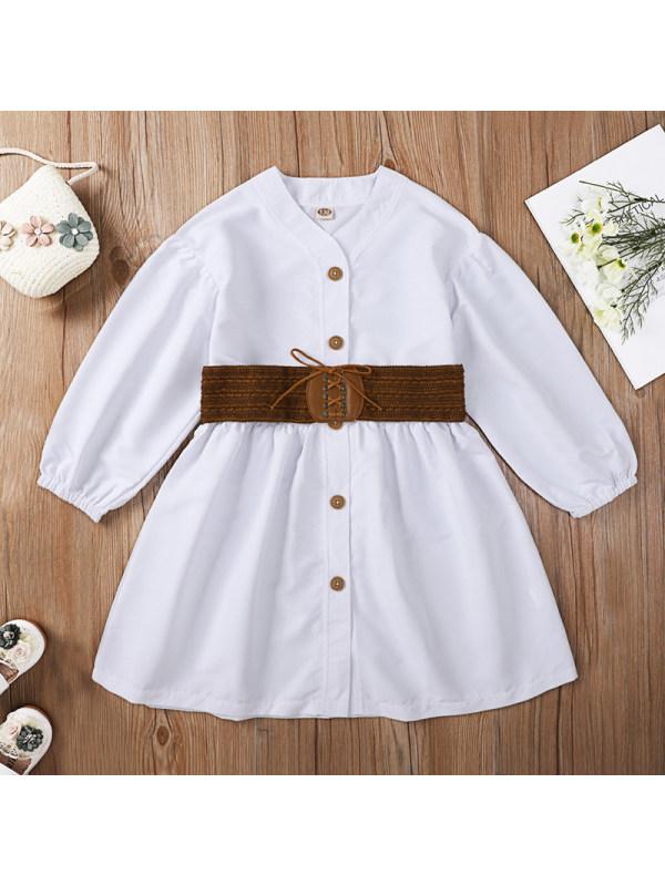 【3Y-11Y】 Girl Sweet White Long-sleeved Dress Belt Free