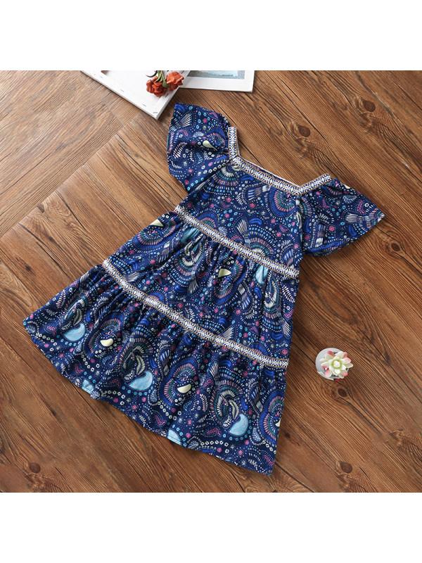 【4Y-15Y】Girls Sweet Floral Print Square Neck Dress