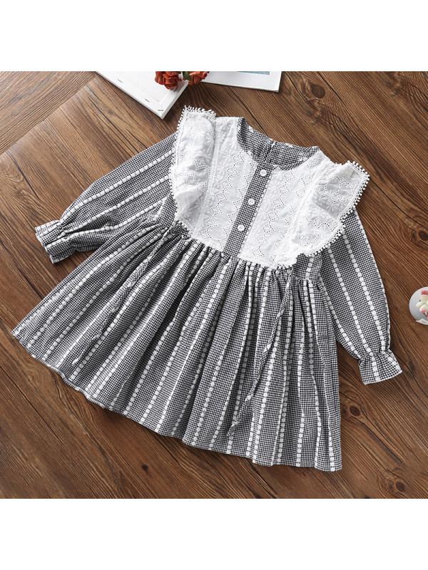 【3Y-13Y】Girls Sweet Plaid Ruffled Long Sleeve Dress
