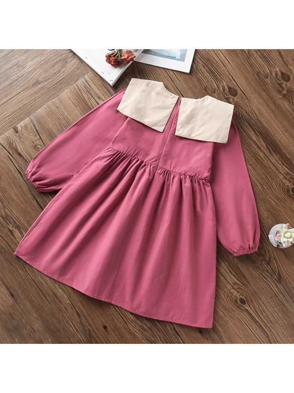 【3Y-13Y】Girls Solid Color Double Collar Long Sleeve Dress