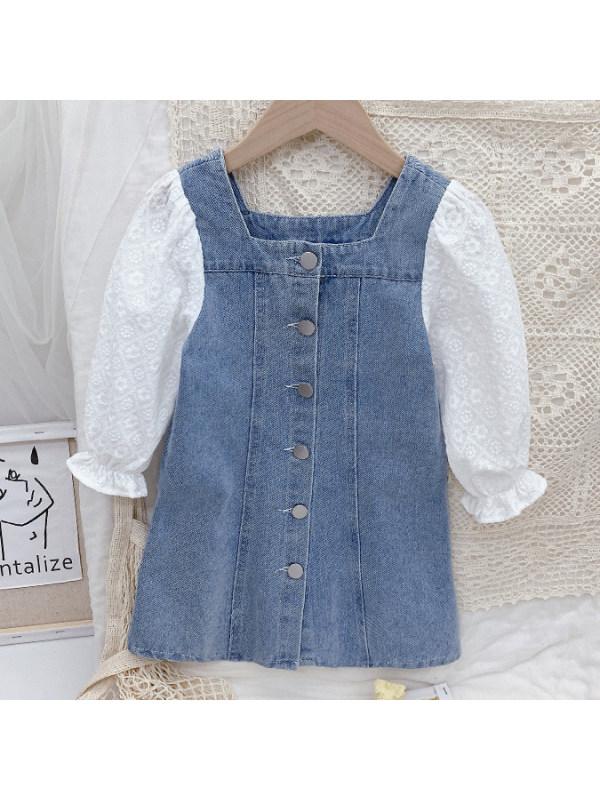 【18M-9Y】 Girl Sweet Flower Embroidered Sleeve Blue Denim Dress