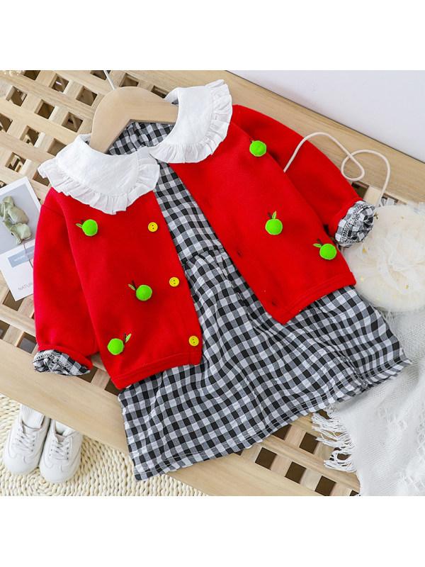 【6M-4Y】Girl Sweet Fruit Cardigan And Plaid Dress Set
