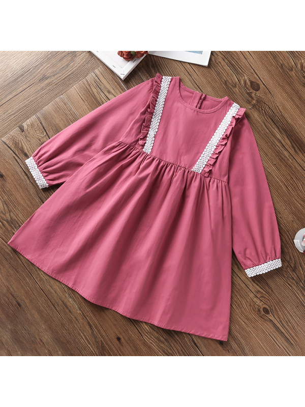 【3Y-13Y】Girls Round Collar Ruffled Long Sleeve Dress