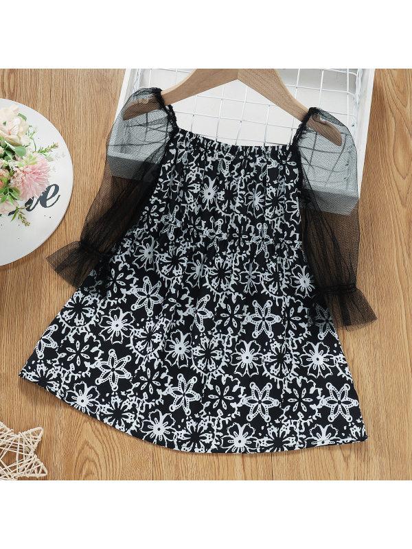 【18M-6Y】Girl Sweet Flower Print Black And White Mesh Sleeve Dress