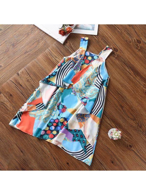 【3Y-13Y】Girls Geometric Print Ruffled Camisole Dress