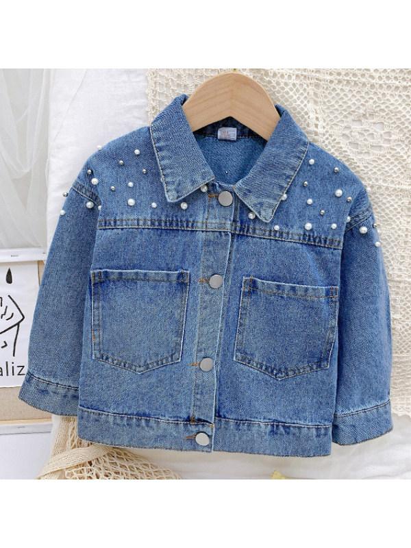 【18M-9Y】Girl Sweet Pearl Blue Denim Jacket