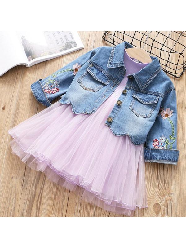 【18M-7Y】 Girls Sweet Floral Embroidered Denim Jacket And Mesh Dress Set