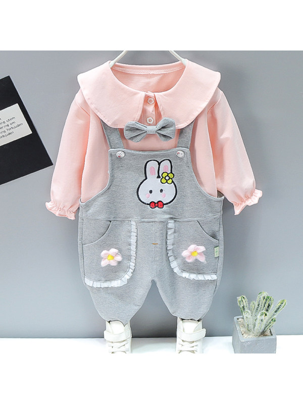 【12M-5Y】Girl Sweet Bunny Pattern T-shirt Overalls Set