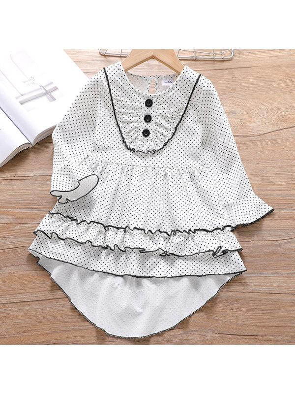 【18M-7Y】Girl Sweet White Polka Dot Long Sleeve Dress