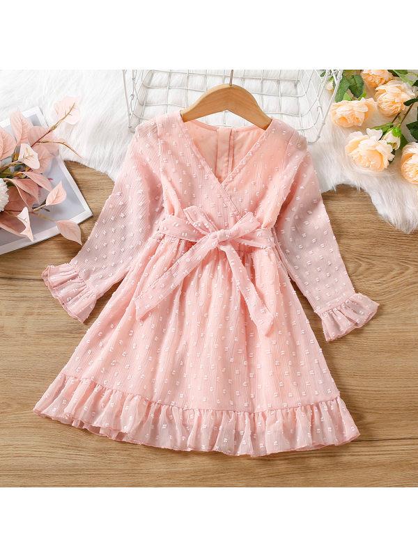 【18M-7Y】Girl Pink Polka Dot V Neck Bowknot Ruffle Dress