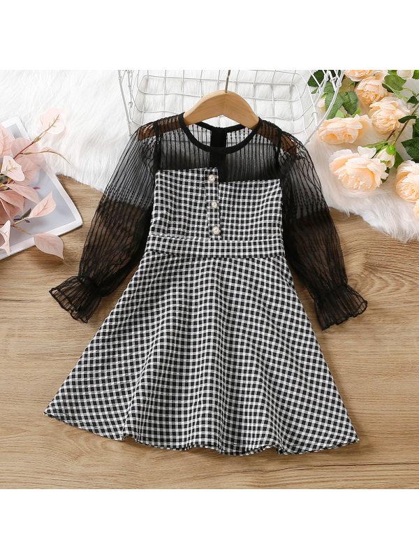 【18M-7Y】Girl Plaid Tulle Long Sleeve Dress
