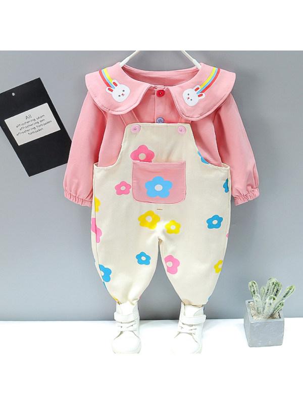 【12M-5Y】Girl Sweet Flower Pattern Cardigan Overalls Set