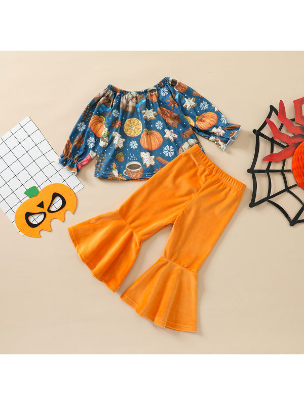 【12M-5Y】Girls Halloween Print Tops And Flared Pants Set