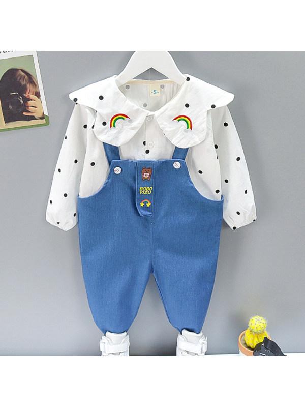 【12M-5Y】Girl Sweet Polka Dot Shirt Denim Overalls Set