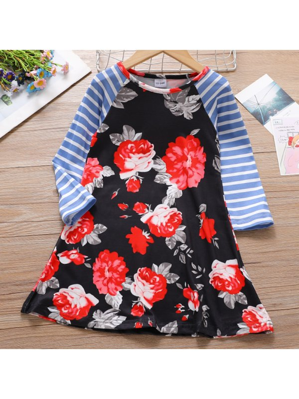 【18M-7Y】Girls Sweet Striped Floral Stitching Long Sleeved Dress