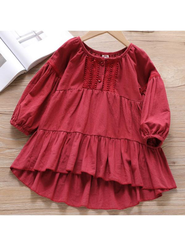 【18M-7Y】Girl Sweet Red Long Sleeve Dress