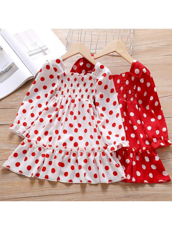 【18M-7Y】Girl Sweet Polka Dot Long Sleeve Dress