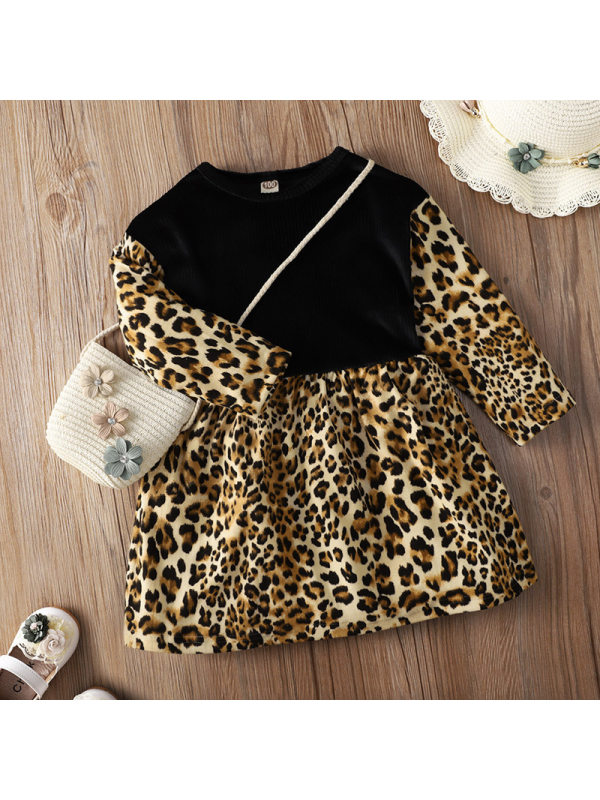 【18M-7Y】Girls Leopard Print Splicing Long Sleeve Dress