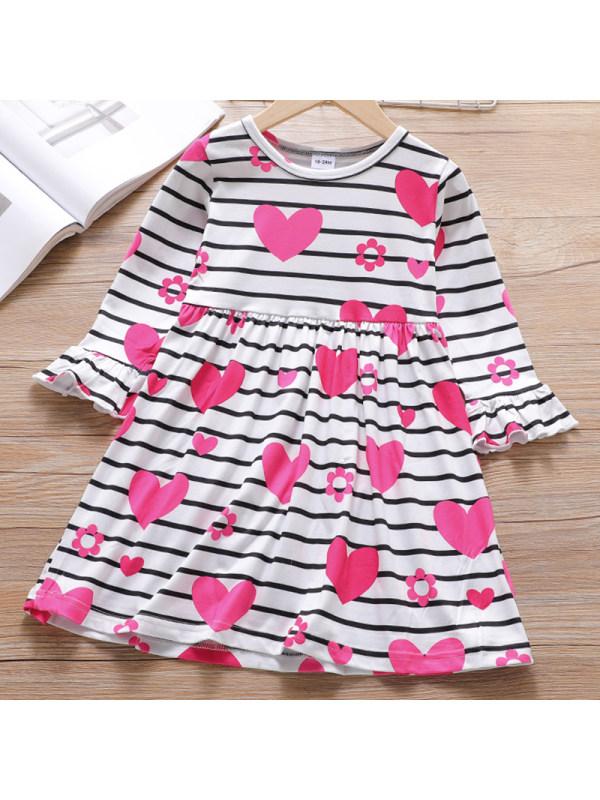 【18M-7Y】Girls Sweet Striped Heart Shaped Pattern Long Sleeved Dress