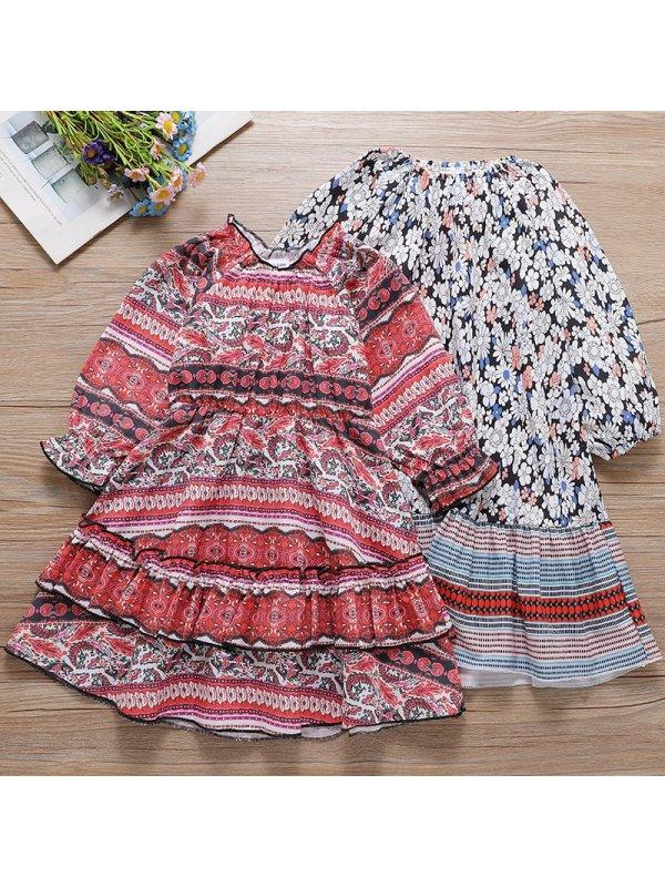 【18M-7Y】Girl Sweet Flower Pattern Long Sleeve Dress