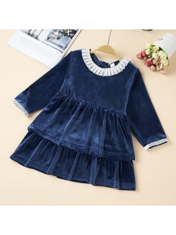【6M-3Y】Girls Blue Velvet Layered Dress