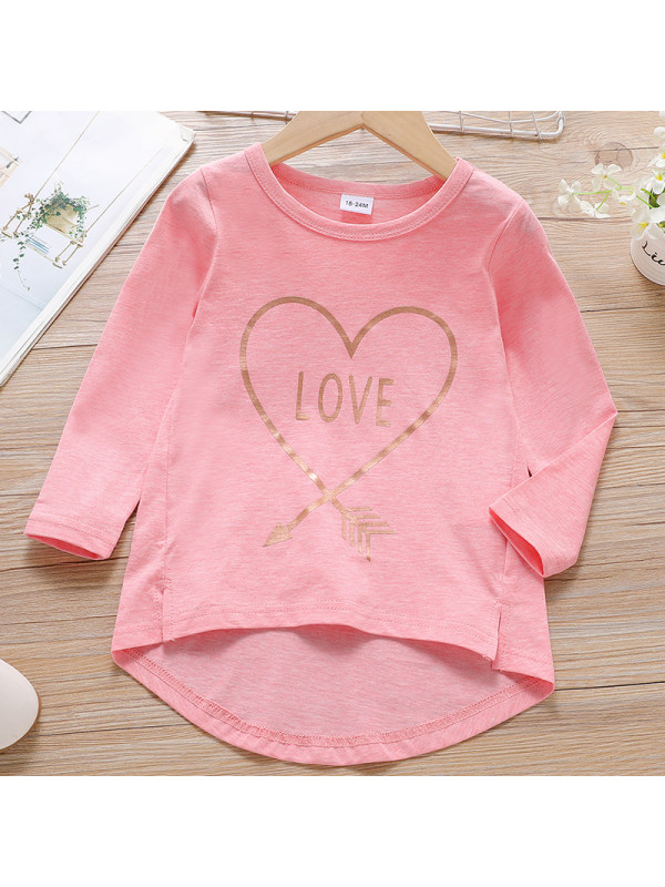 【18M-7Y】Girls Sweet Pink Letter Pattern Long Sleeve T-Shirt