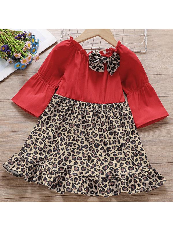 【18M-7Y】Girl Sweet Red Leopard Print Stitching Dress