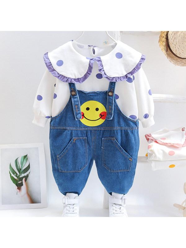 【12M-4Y】Girls Sweet Polka Dot Sweatshirt Denim Overalls Set