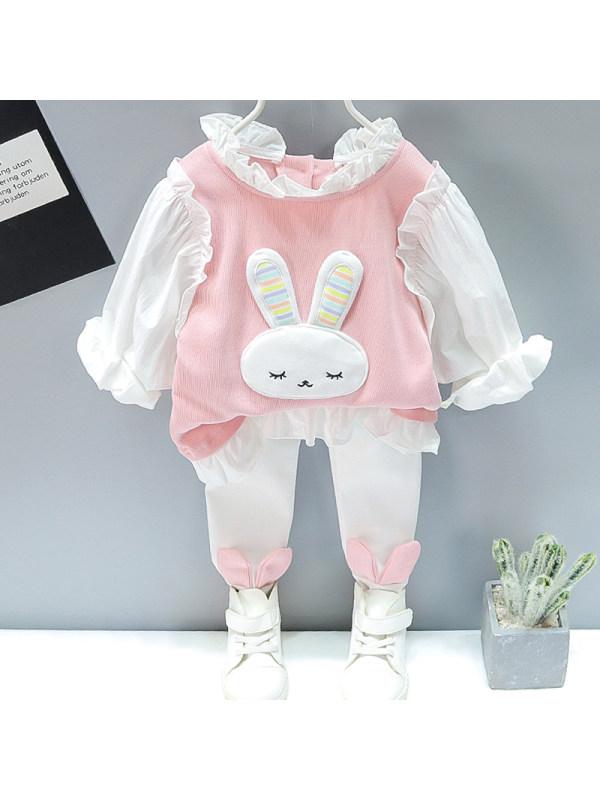 【12M-5Y】Girls Sweet Bunny Pattern Sweatshirt Pants Set