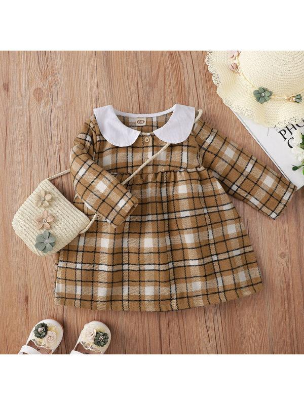 【6M-3Y】Girls Khaki Plaid Print Dollar Collar Dress