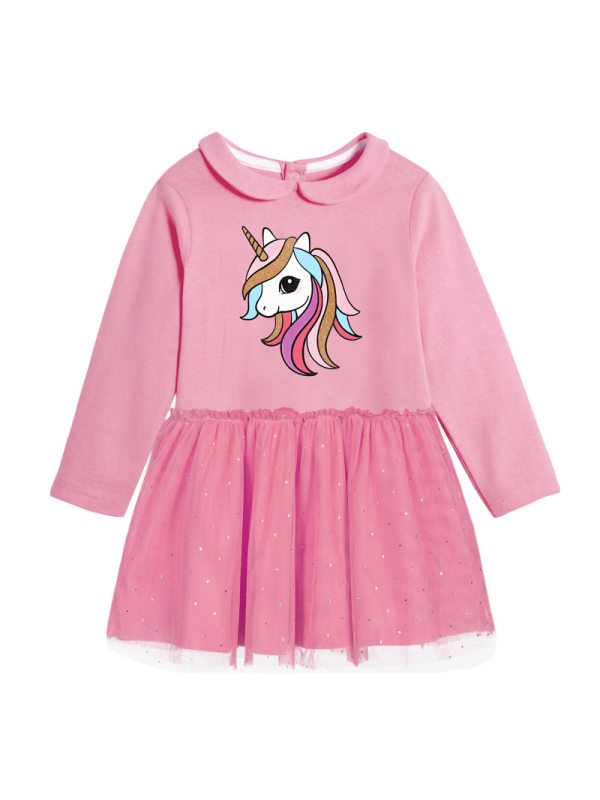 【18M-9Y】Girls Unicorn Print Long-sleeved Dresses