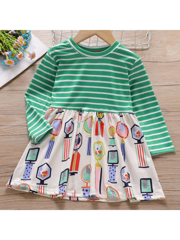 【18M-7Y】Girls Sweet Striped Stitching Long Sleeved Dress