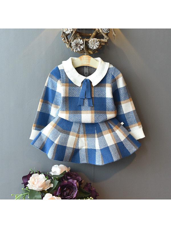 【18M-7Y】Girls School Plaid Top And Half Skirt Sweater Set