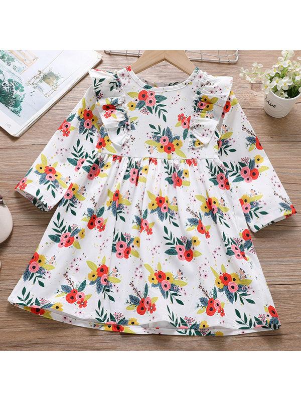 【18M-7Y】Girl Sweet Floral Long Sleeve Dress