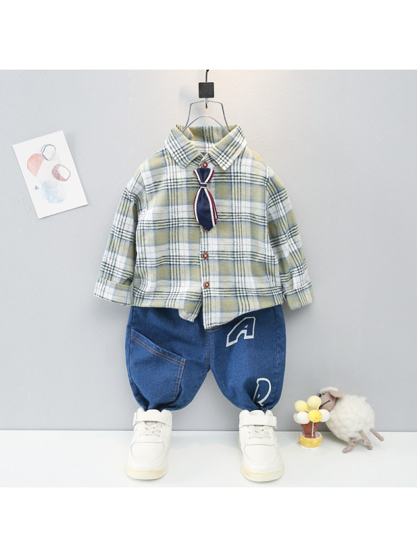 【9M-4Y】Boys Tie Check Long-sleeved Shirt And Pants Two-piece Suit
